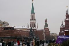 View of the Kremlin and the historical center of Moscow. Red square, Moscow, winter Stock Photography