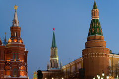 View of  Kremlin and Historical Museum  at night Stock Photos