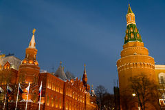 View of  Kremlin and Historical Museum  at night Stock Photography