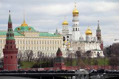 View of the Kremlin and Ivan the Great Bell Tower in Moscow, Russia stock photo
