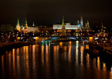 View of the Kremlin from Moscow River bridge Royalty Free Stock Photos