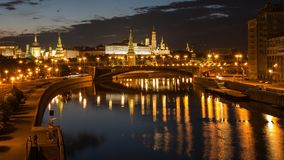 The view on the Kremlin and Moscow River by night stock video footage