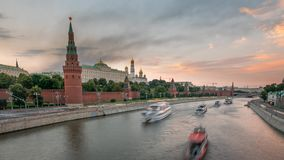 The view on the Kremlin and Moscow River traffic stock footage