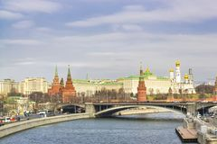 View of the Kremlin, the Moskva River and Bolshoy Kamenny Bridge. The historic center of Moscow. Moskva River, Bolshoy Kamenny Bridge and the Kremlin royalty free stock image