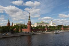 View on the Kremlin and Moskva river. In summer Royalty Free Stock Photography