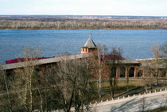 View of the Kremlin in Nizhny Novgorod. View of the Kremlin and the Oka river in Nizhny Novgorod in early spring Royalty Free Stock Photo