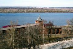 View of the Kremlin in Nizhny Novgorod. View of the Kremlin and the Oka river in Nizhny Novgorod in early spring royalty free stock photo