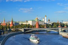 View of the Kremlin from the Patriarchal Bridge. Moscow stock photos