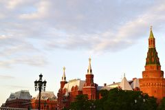 View of the Kremlin. Kremlin red buildings at sunset Stock Photo