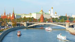 View of  Kremlin and river in  city of Moscow stock video footage