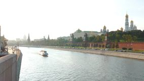 View of  Kremlin and river in  city of Moscow stock footage