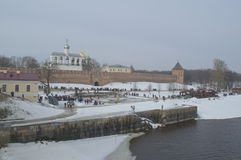 View of the Kremlin from the river. The Kremlin Of Novgorod The Great, Russia Royalty Free Stock Images