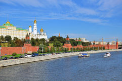 View of the Kremlin and riverside of Moscow city centre Royalty Free Stock Photography