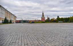 View of Kremlin`s Spasskaya tower and red Square, Moscow. Russia. stock photography