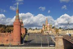 View of the Kremlin, square Vasilevsky descent, St. Basil`s Cathedral and Bolshoy Moskvoretsky bridge, Moscow Stock Photos