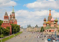 View of Kremlin and St. Basil's cathedral Stock Photography