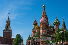 View of the Kremlin and St. Basil`s Cathedral on Red Square royalty free stock photo
