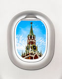 View of Kremlin tower in Moscow from airplane window Royalty Free Stock Images
