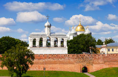 View of Kremlin town fortress with St. Sophia Cathedral in Novgo. NOVGOROD, RUSSIA - JULY 24, 2014: View of Kremlin town fortress with St. Sophia Cathedral stock images