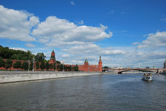View of the Kremlin wall from the Moskva River. Look with Moscow the rivers on the Kremlin wall in Moscow Royalty Free Stock Image
