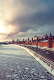 View of Kremlin and winter Moscow river at sunset Stock Image