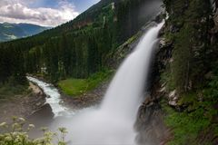 The view of Krimml waterfall stock image