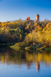 A view of krimulda castle and tower reflected in gauja river Stock Images
