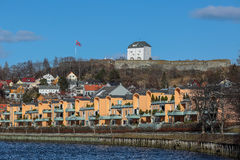 View of Kristiansten Fortress. And residential area in Trondheim, Norway Stock Photography