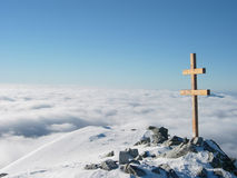 View from Krivan cross. High Tatra, dramatic shot over the cloud formed by a temperature inversion Stock Image