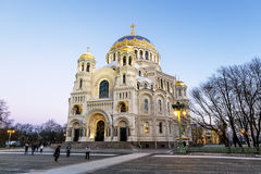 View of the Kronstadt Naval Cathedral in the Christmas winter ev Royalty Free Stock Photo