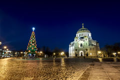 View of the Kronstadt Naval Cathedral in the Christmas winter ev Royalty Free Stock Images