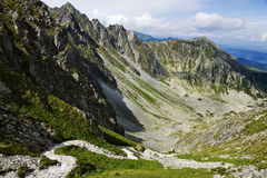 View from Krzyżne Pass on Panszczyca valley in Polish Tatra Mountains Royalty Free Stock Photos