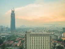 View of Kuala Lumpur City From Hotel Window and The Signature To. Wer Under Construction - Kuala Lumpur, Malaysia, October 06, 2017 royalty free stock images
