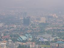 View of Kuala Lumpur city Shrouded in Fog. From Above Royalty Free Stock Image