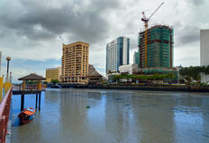 View of Kuching city waterfront Royalty Free Stock Photos