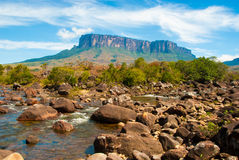 View of Kukenan Tepui, Gran Sabana, Venezuela. View of Kukenan Table Mountain from Kukenan River, Canaima National Park, Venezuela Royalty Free Stock Image