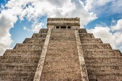 Kukulkan Pyramid (el Castillo) at Chichen Itza, Yucatan, Mexico. View of Kukulkan Pyramid (el Castillo) at the archaeological site of Chichen Itza, Yucatan Royalty Free Stock Image