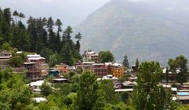 View of Kulu valley, India. Panorama of Kulu valley - Vashist village in Himachal Pradesh, India Royalty Free Stock Images