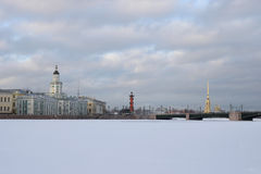 View of the Kunstkamera, Rostral column and Palace bridge Royalty Free Stock Images