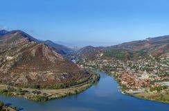 View of Kura and Aragvi rivers merge, Georgia. View of Kura and Aragvi rivers merge from hill with Jvari Monastery, Georgia Stock Image