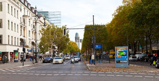 View of kurfurstendamm in Berlin. BERLIN, GERMANY - OCTOBER 19: view of Kurfurstendamm in Berlin on October 19, 2013. The avenue runs for 3.5 km through the Royalty Free Stock Images