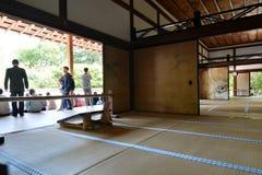 View from the Kuri, the main temple building. Ryoan-ji zen temple. Kyoto. Japan. Ryōan-ji is a Zen temple located in northwest Kyoto; the Ryōan-ji garden is Stock Photos
