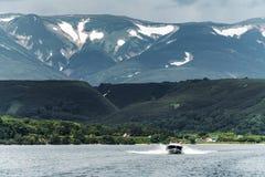 View of the Kuril volcano. And Kuril lake,Kamchatka Peninsula,Russia royalty free stock images