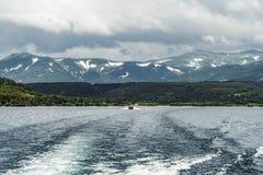 View of the Kuril volcano. And Kuril lake,Kamchatka Peninsula,Russia royalty free stock photo
