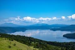 View on Kussharo Lake from the scenic Bihoro Pass road stock images