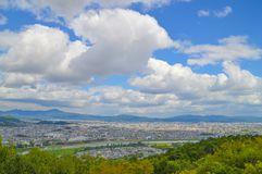 View On Kyoto From Arashiyama Japan. Mountain And A Big City Stock Photography