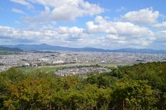 View On Kyoto From Arashiyama Japan. Mountain And A Big City Stock Photos