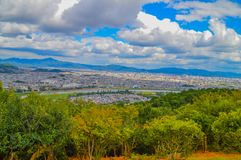 View On Kyoto From Arashiyama Japan. Mountain And A Big City Stock Images