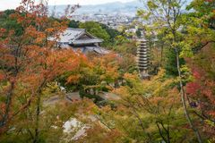 View of Kyoto in autumn at Kiyomizu-dera Buddhist Temple Garden, in Kyoto, Japan. View of Kyoto in autumn from above at the popular destination - Kiyomizu-dera royalty free stock image