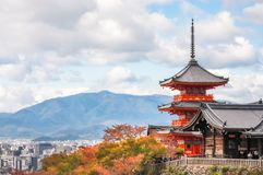 View of Kyoto City in autumn from the Buddhist temple Kiyomizu-dera on Mount Otowa in Japan. View of Kyoto City in autumn with the beautiful and Iconic Buddhist royalty free stock images